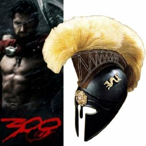 300 - CASQUE CORINTHIEN NOIR AVEC CRETE (VERSION ART REPLICAS)