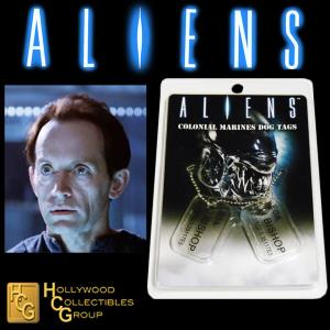 ALIENS - PLAQUES IDENTITE COLONIAL MARINES EOA. L. BISHOP OFFICIELLES ECHELLE 1:1 (DOG TAG)