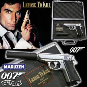 JAMES BOND : PERMIS DE TUER - PISTOLET CHROME OFFICIEL AVEC SILENCEUX ET MALLETTE (LIMITED EDITION)