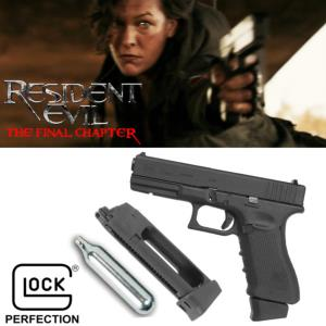 RESIDENT EVIL FINAL CHAPTER - PISTOLET ALICE GLOCK 17 GEN4 OFFICIEL METAL, ABS & RETOUR DE CULASSE