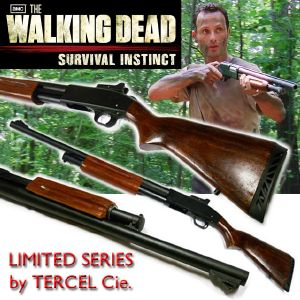 WALKING DEAD (THE) - RICK GRIMES SHOTGUN OFFICIEL LIMITED SERIES TOUT EN METAL ET BOIS VERITABLE