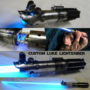 "STAR WARS - SABRE LASER ""CUSTOM LUKE LIGHTSABER"" AVEC CRYSTAL (LAME AMOVIBLE-PRACTICAL-FAIT MAIN)"