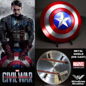 CAPTAIN AMERICA : CIVIL WAR - BOUCLIER OFFICIEL TOUT METAL + SUPPORT BOIS (MARVEL -WINDLASS STUDIOS)