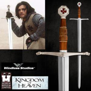 KINGDOM OF HEAVEN - EPEE BALIAN OFFICIELLE AVEC SUPPORT BOIS DELUXE (PRACTICAL - WINDLASS STUDIO)