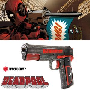 DEADPOOL (MARVEL COMICS) - PISTOLET 1911 OFFICIEL AVEC RETOUR DE CULASSE (LICENCE AW CUSTOM)