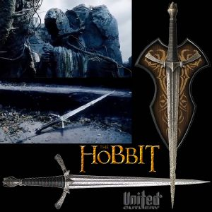 THE HOBBIT - DAGUE DE MORGUL OFFICIELLE + SUPPORT BOIS DELUXE (NAZGUL BLADE - UNITED CUTLERY BRANDS)