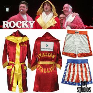 ROCKY - PEIGNOIR ROCKY BALBOA ET 2 SHORTS ROCKY & APPOLO CREED OFFICIELS (MGM - TOT STUDIOS)