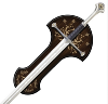 LOTR - ANDURIL EPEE DU ROI ARAGORN ELESSAR OFFICIELLE PLAQUE OR 24 K + SUPPORT BOIS (UNITED CUTLERY)