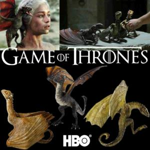 "GAME OF THRONES - SET 3 ""BABIES DRAGONS"" OFFICIELS ECHELLE 1:1 (HBO - NOBLE COLLECTION)"
