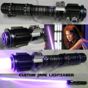 "STAR WARS - SABRE LASER ""CUSTOM MARA JADE LIGHTSABER"" (LAME AMOVIBLE-PRACTICAL-HANDCRAFTING)"
