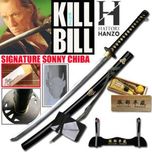 KILL BILL - BILL KATANA SIGNATURE EDITION SONNY CHIBA : PACK OFFICIEL HATTORI HANZO SABRE FORGE MAIN