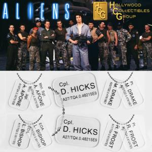 ALIENS - PACK : 5 PLAQUES IDENTITE COLONIAL MARINES OFFICIELLES ECHELLE 1:1 (DOG TAG)