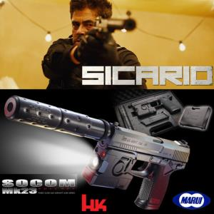 SICARIO - PISTOLET SOCOM MK23 FULL SET OFFICIEL AVEC SILENCIEUX & LAMPE TACTIQUE (MARUI JAPAN - H&K)