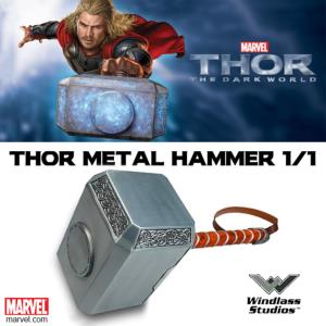 THOR : THE DARK WORLD - MARTEAU OFFICIEL TOUT METAL ECHELLE 1/1 (METAL HAMMER - WINDLASS STUDIOS)