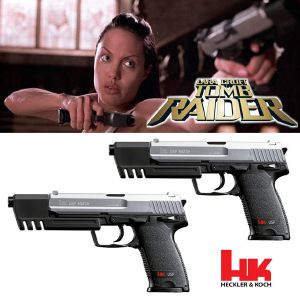 TOMB RAIDER - LARA CROFT SET 2 PISTOLETS OFFICIELS HK USP MATCH BI-COLOR (VERSION SPRING)