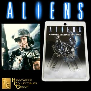 ALIENS - PLAQUES IDENTITE COLONIAL MARINES CPL. D. HICKS OFFICIELLES ECHELLE 1:1 (DOG TAG)