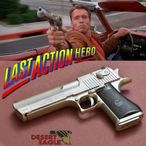 LAST ACTION HERO - PISTOLET CHROME OFFICIEL  AVEC RETOUR DE CULASSE (LICENCE DESERT EAGLE)