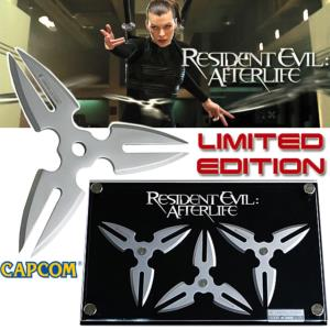 RESIDENT EVIL AFTERLIFE - SET 3 SHURIKEN ALICE OFFICIEL LIMITED EDITION & SUPPORT DELUXE
