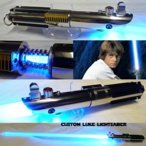 STAR WARS - SABRE LASER LUKE ESB AVEC CRYSTAL (FAIT MAIN - LAME AMOVIBLE - PRACTICAL)