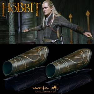 THE HOBBIT - SET COMPLET : 2 GARDES BRAS OFFICIELS LEGOLAS GREENLEAF (WETA COLLECTIBLES DELUXE)