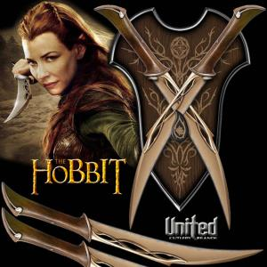 THE HOBBIT - DAGUES DE COMBAT DE TAURIEL OFFICIELLES + SUPPORT BOIS DELUXE (UNITED CUTLERY)
