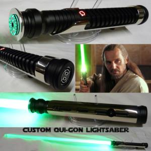STAR WARS - SABRE LASER QUI-GON CUSTOM LIGHTSABER (FAIT MAIN - LAME AMOVIBLE - PRACTICAL)