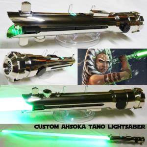 STAR WARS - SABRE LASER AHSOKA TANO CUSTOM LIGHTSABER (FAIT MAIN - LAME AMOVIBLE - PRACTICAL)