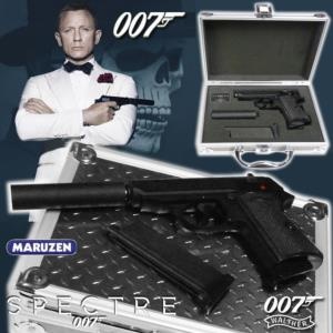 JAMES BOND : SPECTRE - PISTOLET WALTHER PPK S OFFICIEL AVEC SILENCEUX, CHARGEUR SUPPLE. ET MALLETTE