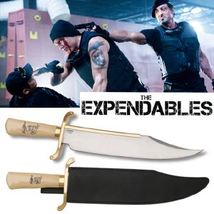 THE EXPENDABLES - POIGNARD BOWIE OFFICIEL PLAQUE OR 18K (UNITED CUTLERY)