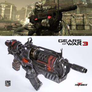 GEARS OF WAR 3 - BLASTER LOCUST HAMMERBURST II OFFICIEL ECHELLE 1/1 (TRIFORCE - EPIC GAMES)