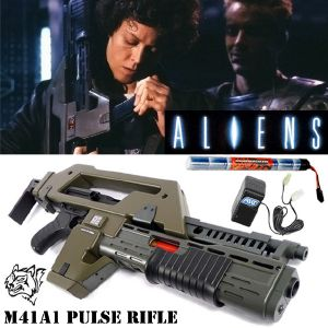 ALIENS - PULSE RIFLE M41A1 HAUT DE GAMME TOUT AUTOMATIQUE + PACK BATTERIE (VERSION SNOW WOLF)