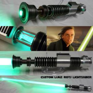 STAR WARS - SABRE LASER LUKE ROTJ WHEATHERED AVEC CRYSTAL (FAIT MAIN - LAME AMOVIBLE - PRACTICAL)