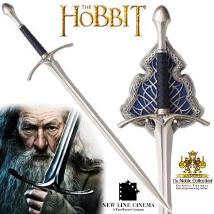 "THE HOBBIT - EPEE ""GLAMDRING"" DE GANDAL OFFICIELLE + SUPPORT METAL DELUXE (VERSION NOBLE COLLECTION)"
