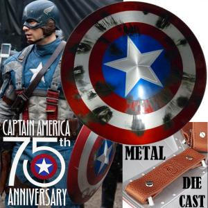 CAPTAIN AMERICA - BOUCLIER TOUT METAL LIMITED EDITION 75TH ANNIVERSARY AVEC IMPACTS (VERSION TEDDY SNOW)