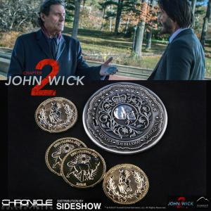 JOHN WICK 2 - BLOOD OATH MARKER (MARQUEUR DE SERMENT DE SANG) & PIECES D'OR CONTINENTAL OFFICIELS (CHRONICLES COLLECTIBLES - SIDESHOW)