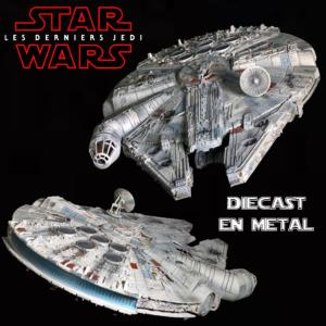 STAR WARS - FALCON MILLENIUM OFFICIEL EN METAL AVEC ECLAIRAGE (DIE CAST ECHELLE 1/100°)