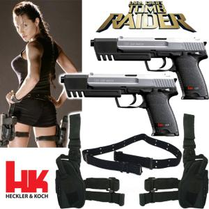 TOMB RAIDER - LARA CROFT SET 2 PISTOLETS BI-COLOR HK USP MATCH OFFICIELS + 2 HOLSTERS + CEINTURE