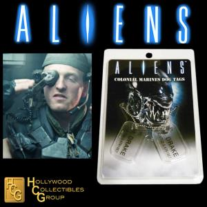 ALIENS - PLAQUES IDENTITE COLONIAL MARINES PT. M. DRAKE OFFICIELLES ECHELLE 1:1 (DOG TAG)