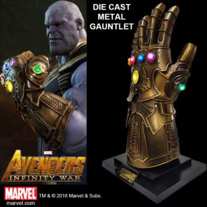 AVENGERS : INFINITY WAR - GANTELET THANOS TOUT METAL OFFICIEL AVEC LEDS + SUPPORT DELUXE (MARVEL ™)