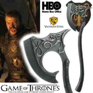 GAME OF THRONES - HACHE EURON GREYJOY OFFICIELLE NUMEROTEE LIMITED EDITION AVEC LAME ACIER CARBONE
