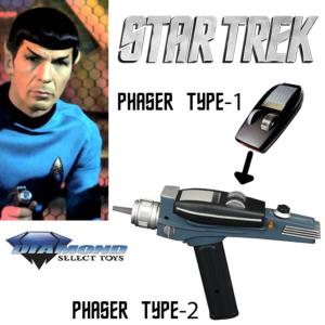 STAR TREK - PHASER TYPE 1 ET 2 BLACK HANDLE OFFICIELS (DIAMOND SELECT)