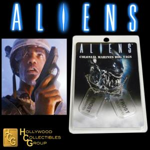 ALIENS - PLAQUES IDENTITE COLONIAL MARINES PT. R. FROST OFFICIELLES ECHELLE 1:1 (DOG TAG)