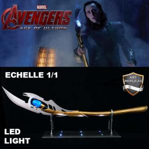 AVENGERS: AGE OF ULTRON - REPLIQUE SCEPTRE DE LOKI ECHELLE 1/1 TOUT METAL AVEC SUPPORT ECLAIRE PAR LEDS (REPRODUCTION ART REPLICAS)