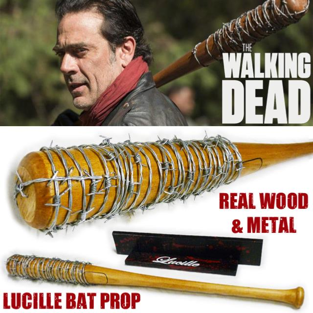 walking dead the batte de baseball lucille de negan en bois veritable et metal prop replica. Black Bedroom Furniture Sets. Home Design Ideas