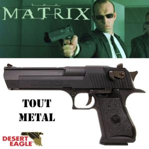 MATRIX - PISTOLET OFFICIEL AGENT SMITH TOUT METAL AVEC RETOUR DE CULASSE (LICENCE DESERT EAGLE)