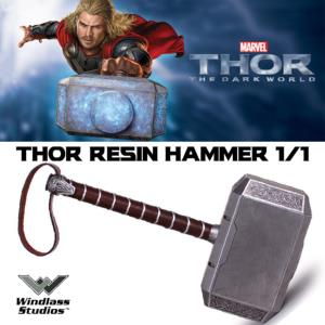 THOR : THE DARK WORLD - MARTEAU OFFICIEL EN RESINE ECHELLE 1/1 (RESIN HAMMER - WINDLASS STUDIOS)