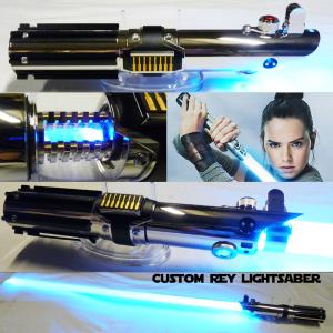 STAR WARS - SABRE LASER REY EPISODE IX AVEC CRYSTAL (FAIT MAIN - LAME AMOVIBLE - PRACTICAL)
