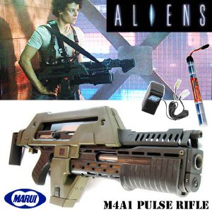 "ALIENS - PULSE RIFLE M41A1 ""VERSION RARE MARUI JAPAN"" TOUT AUTOMATIQUE + PACK BATTERIE & CHARGEUR"
