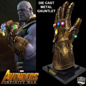 AVENGERS : INFINITY WAR - REPLIQUE GANTELET THANOS TOUT METAL AVEC LEDS + SUPPORT DELUXE (REPRODUCTION ART REPLICAS)