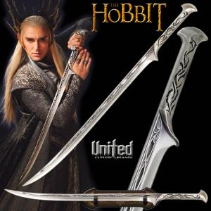 THE HOBBIT - EPEE DE THRANDUIL OFFICIELLE + SUPPORT BOIS DELUXE (UNITED CUTLERY)